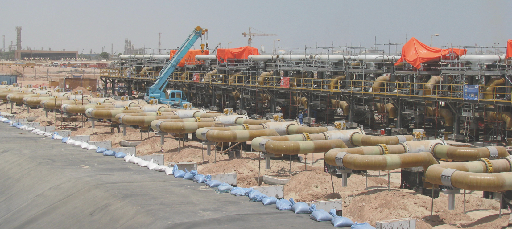 Supervision of assembly of large bore pipework at petrochemical plant