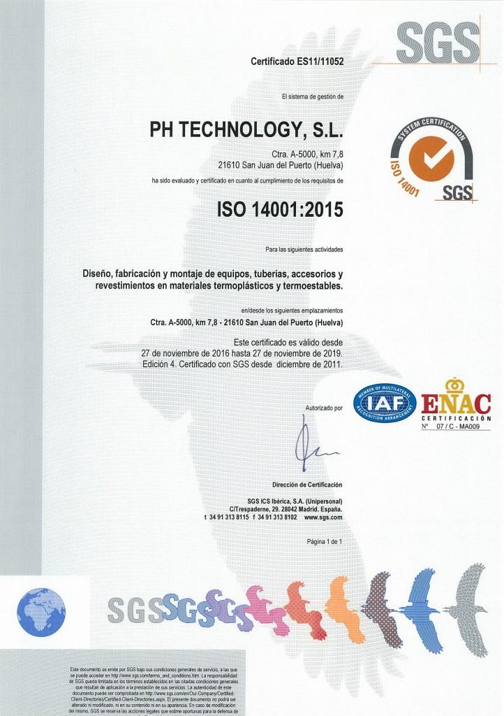 certificado ISO 14001-2015 (español) hasta 2019